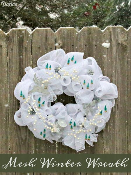 DIY Mesh Winter Wreath - Dollar Store Crafts