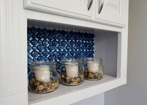 Dollar Store Craft: Glass Marble Backsplash