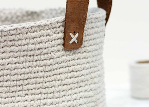 Dollar Store Craft: Twine and Leather Basket