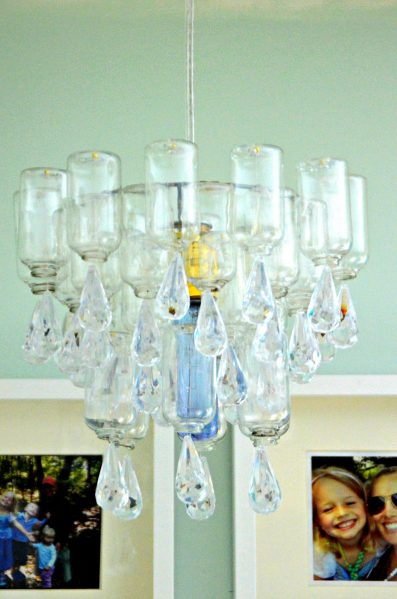 Dollar Store Craft: Make a Chandelier from dollar store bottles