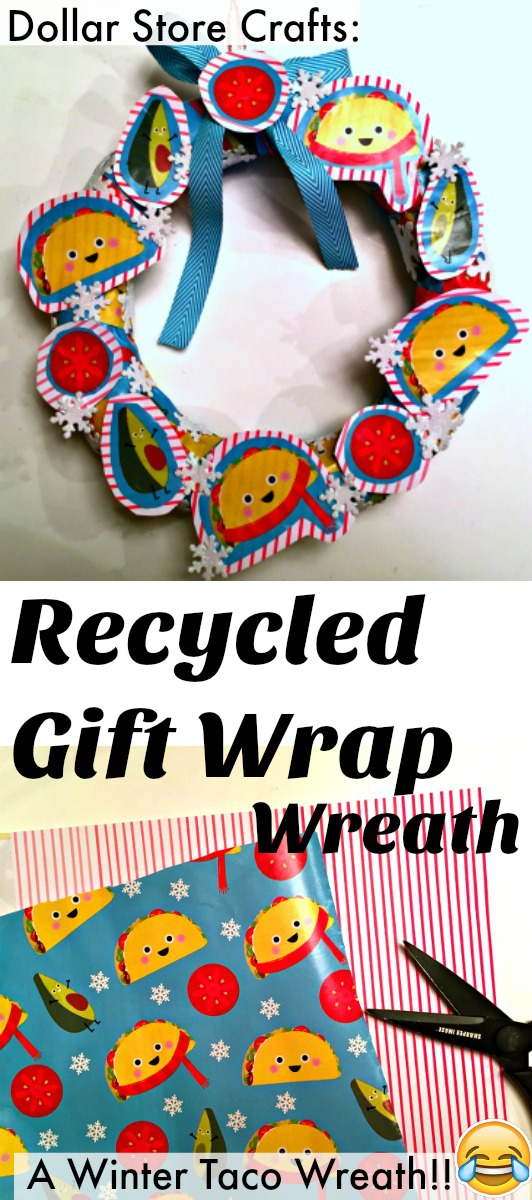 Make a Recycled Gift Wrap Wreath: Dollar Store Crafts
