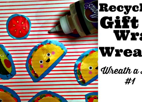 Recycled Gift Wrap wreath craft idea - Dollar Store Crafts