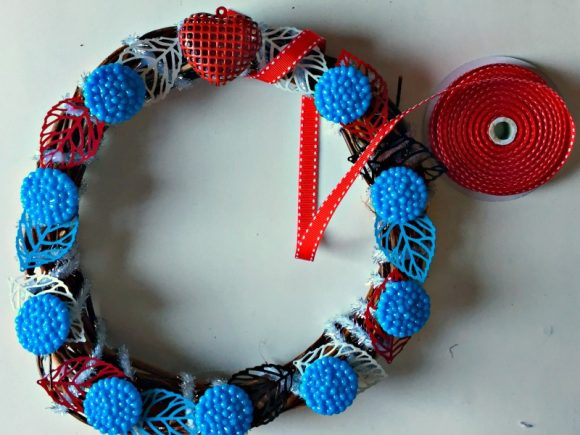 Turquoise & Red Valentine Heart Wreath