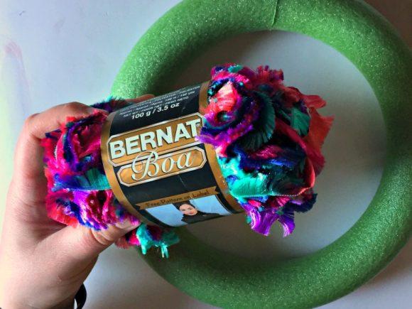 Novelty Yarn & Gemstone Wreath - Dollar Store Crafts