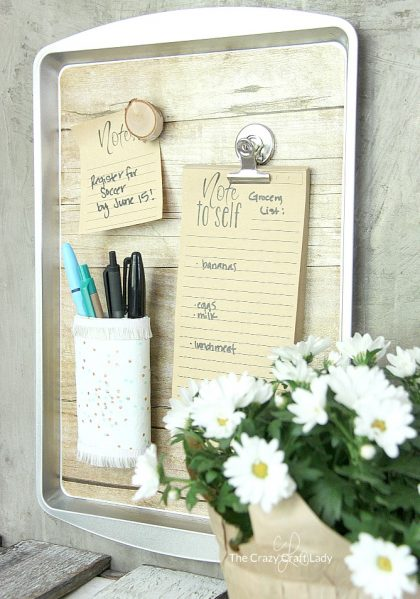 Make a magnetic organizer from a dollar store cookie sheet