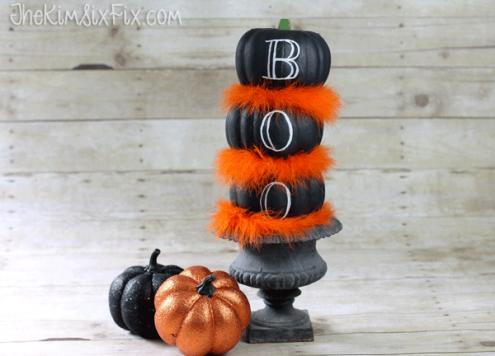 Dollar Store Pumpkin Topiary - Chalkboard