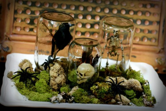 Make Halloween terrariums from recycled jars and dollar store halloween decorations