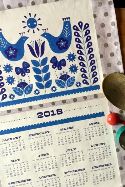 Free Printable: 2018 Folk Tea Towel Calendar from Dollar Store Crafts & Cathe Holden