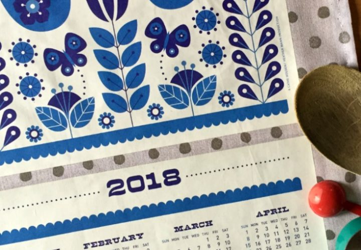 Free Printable: 2018 Folk Tea Towel Calendar from Dollar Store Crafts & Cathe Holden