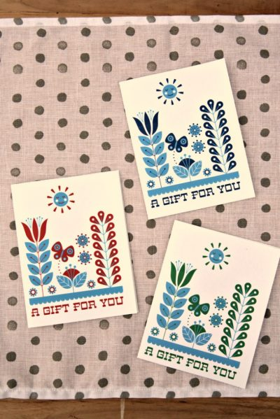 Free Printable Card: Folk Art Gift Notecards