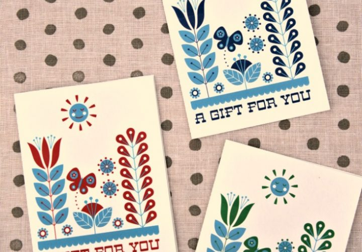 Free Printable Card: Folk Art Inspired Gift Card by Cathe Holden & Dollar Store Crafts