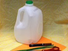 Recycled milk jug halloween candy pail tutorial