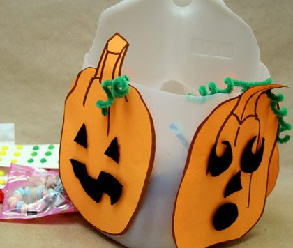 Recycled milk jug Halloween candy pail
