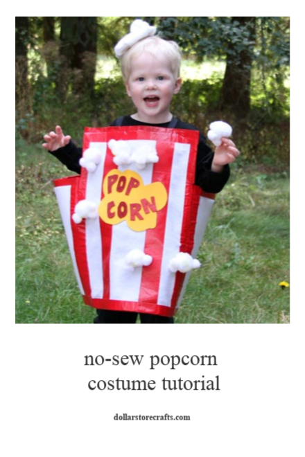 No Sew Popcorn Costume tutorial - dollar store crafts