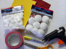 Supplies for no-sew popcorn halloween costume from dollar store crafts